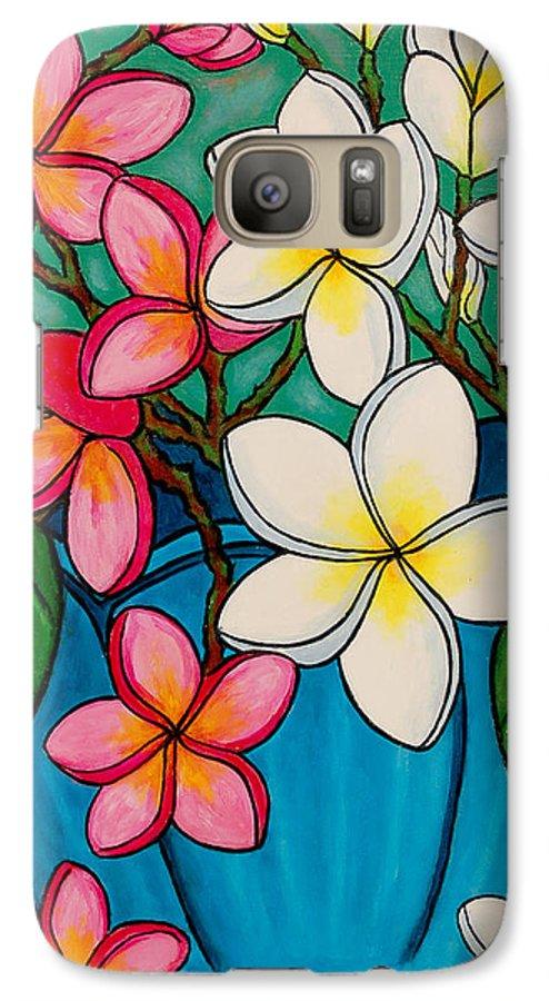 Frangipani Galaxy S7 Case featuring the painting Frangipani Sawadee by Lisa Lorenz