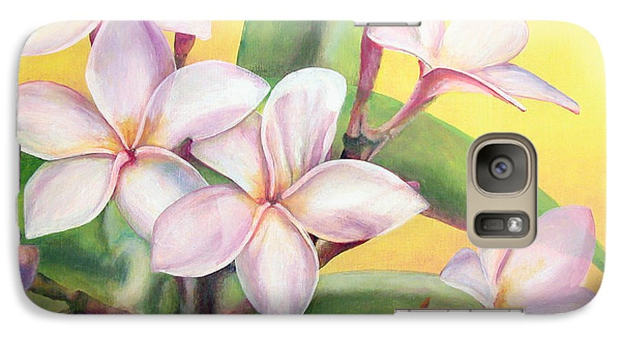 Floral Painting Galaxy S7 Case featuring the painting Frangipanier by Muriel Dolemieux
