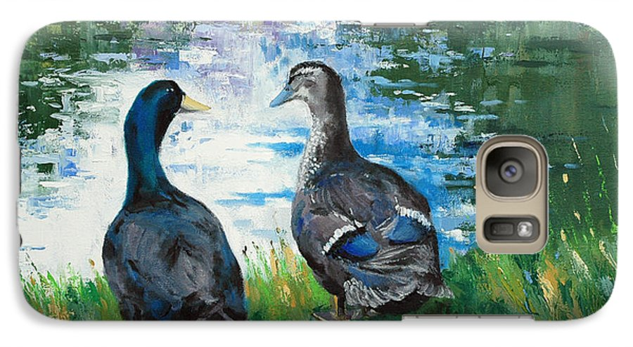 Ducks Galaxy S7 Case featuring the painting Fred And Ethel At Scott's Pond by Glenn Secrest