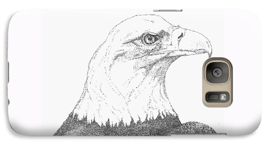 Eagle Galaxy S7 Case featuring the drawing Freedom by Debra Sandstrom