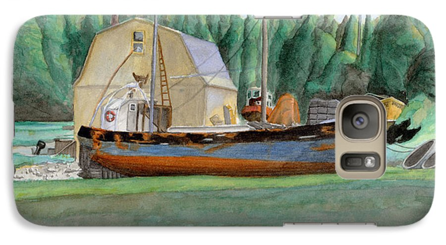 Fishing Boat Galaxy S7 Case featuring the painting Freeport Fishing Boat by Dominic White
