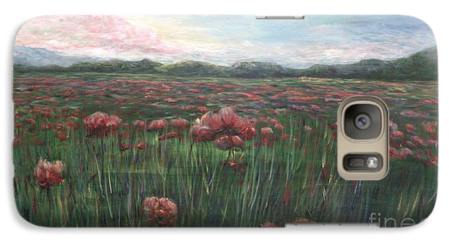France Galaxy S7 Case featuring the painting French Poppies by Nadine Rippelmeyer