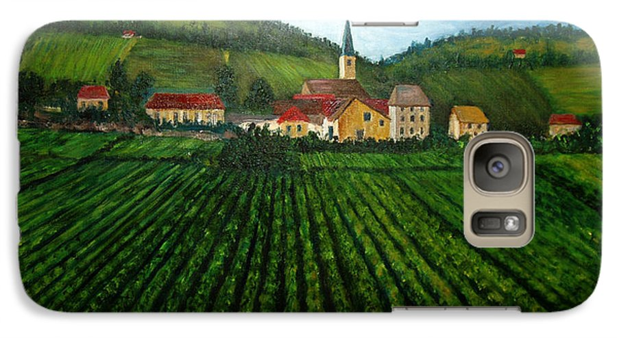 Acrylic Galaxy S7 Case featuring the painting French Village In The Vineyards by Nancy Mueller