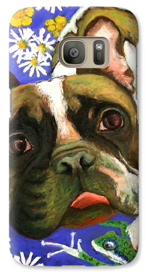 Pet Portrait Galaxy S7 Case featuring the painting Frenchie Plays With Frogs by Minaz Jantz
