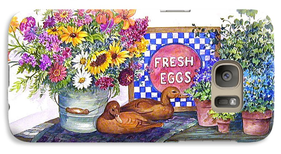 Watercolor;ducks;decoys;floral;mixed Bouquet;potted Plants;checkerboard;quilt; Galaxy S7 Case featuring the painting Fresh Eggs by Lois Mountz