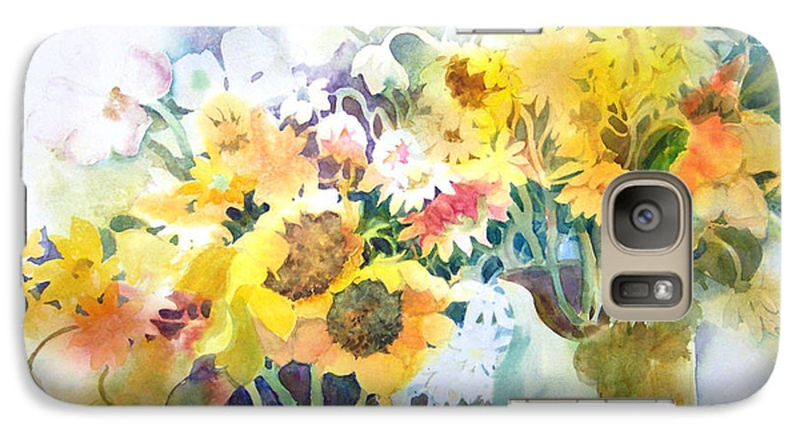Contemporary;watercolor;sunflowers;daisies;floral; Galaxy S7 Case featuring the painting Fresh-picked by Lois Mountz