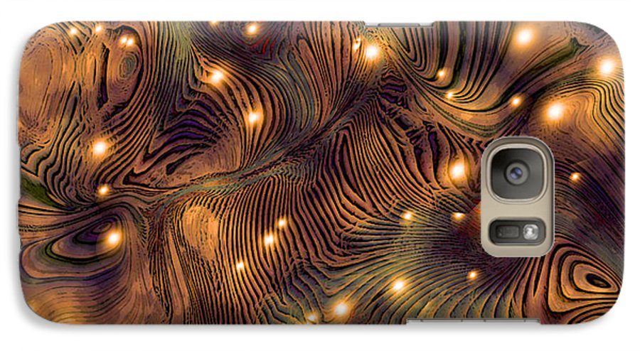 Abstract Digital Art Painting Brown Gold Freshwater Fish Lights Texture Galaxy S7 Case featuring the painting Freshwater by Susan Epps Oliver