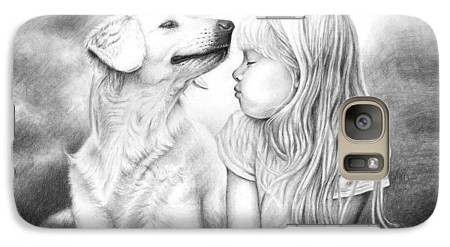 Dog Galaxy S7 Case featuring the drawing Friends by Nicole Zeug