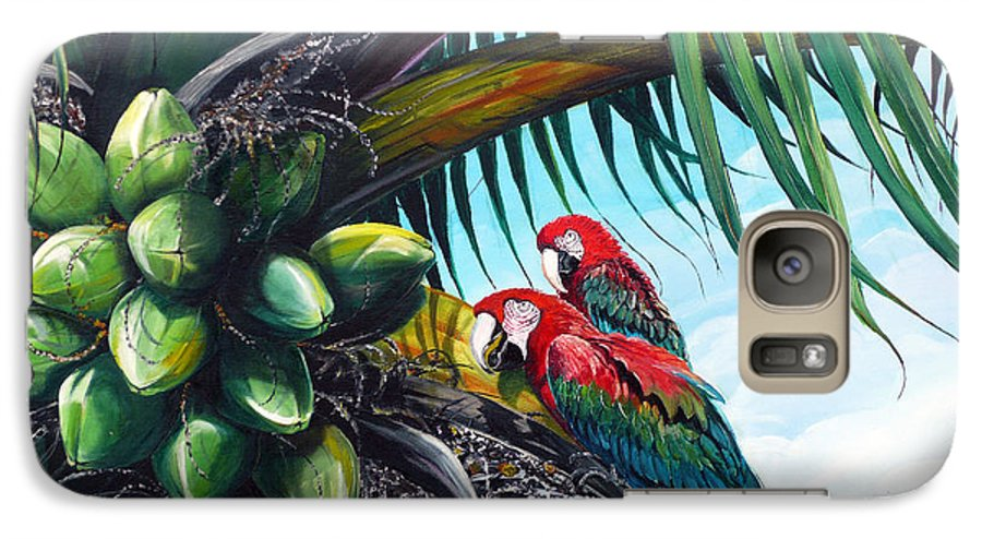 Macaws Bird Painting Coconut Palm Tree Painting Parrots Caribbean Painting Tropical Painting Coconuts Painting Palm Tree Greeting Card Painting Galaxy S7 Case featuring the painting Friends Of A Feather by Karin Dawn Kelshall- Best