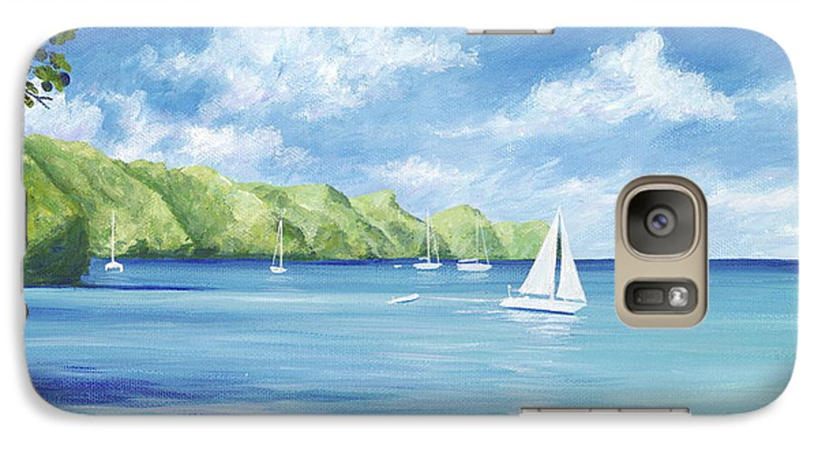 Nautical Seascape Galaxy S7 Case featuring the painting Friendship Bay by Danielle Perry