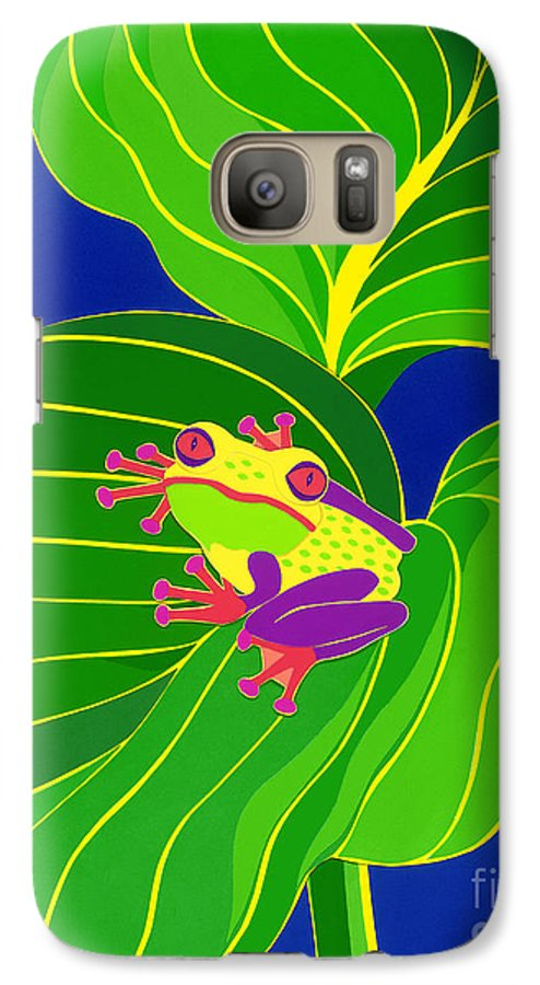 Nature Galaxy S7 Case featuring the drawing Frog On Leaf by Lucyna A M Green