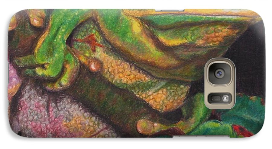 Frog Galaxy S7 Case featuring the painting Froggie by Karen Ilari
