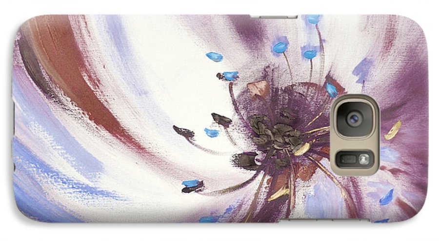 Brown Galaxy S7 Case featuring the painting From The Heart Of A Flower Brown 2 by Gina De Gorna