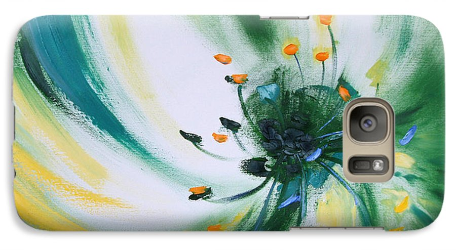 Green Galaxy S7 Case featuring the painting From The Heart Of A Flower Green by Gina De Gorna