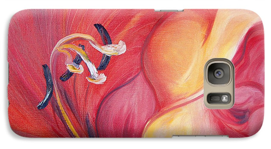 Red Galaxy S7 Case featuring the painting From The Heart Of A Flower Red by Gina De Gorna