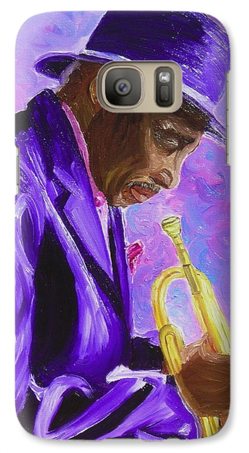 Street Musician Trumpet Player Galaxy S7 Case featuring the painting From The Soul by Michael Lee