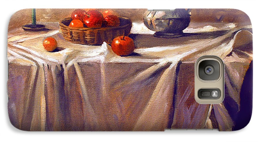 Still Life Galaxy S7 Case featuring the painting Fruit By Candle Light by Nancy Griswold