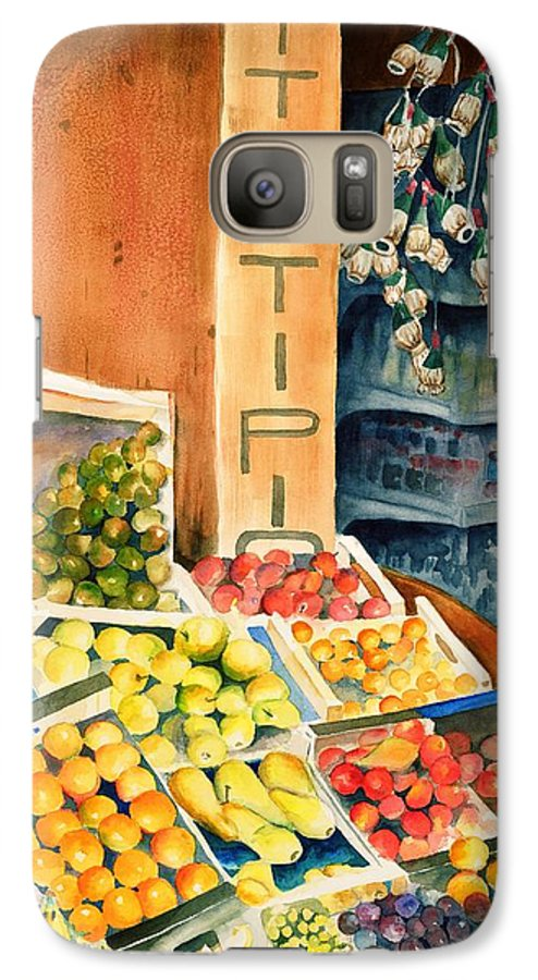 Fruit Shop Window Galaxy S7 Case featuring the painting Fruit Shop In San Gimignano by Judy Swerlick