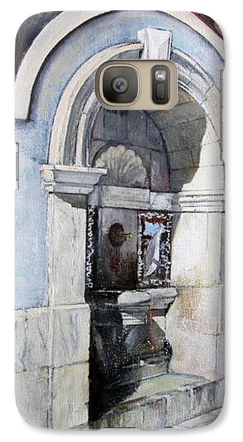 Fuente Galaxy S7 Case featuring the painting Fuente Castro Urdiales by Tomas Castano