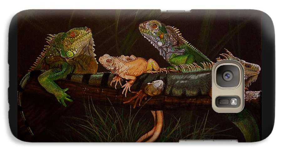 Iguana Galaxy S7 Case featuring the drawing Full House by Barbara Keith