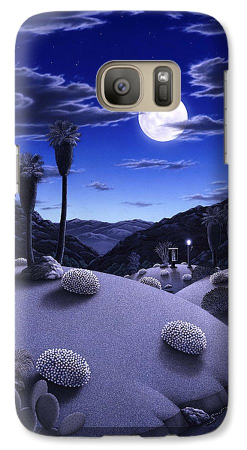 Desert Galaxy S7 Case featuring the painting Full Moon Rising by Snake Jagger