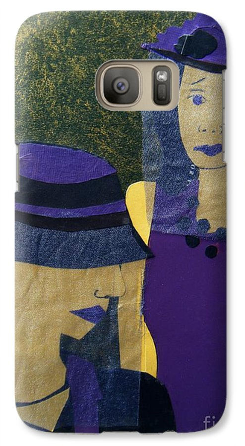 Purple Galaxy S7 Case featuring the mixed media Funeral Masks by Debra Bretton Robinson