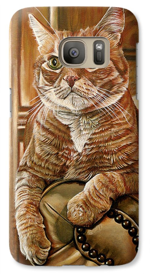 Cat Galaxy S7 Case featuring the painting Furby by Cara Bevan