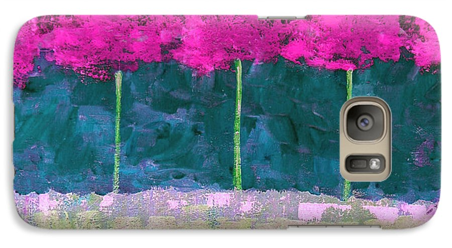 Abstract Galaxy S7 Case featuring the painting Fuschia Trees by Ruth Palmer