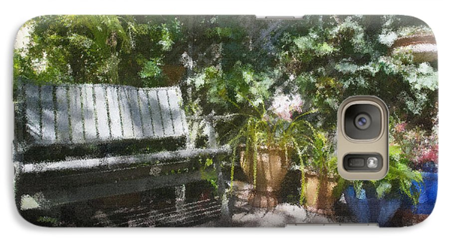 Garden Bench Flowers Impressionism Galaxy S7 Case featuring the photograph Garden Bench by Sheila Smart Fine Art Photography