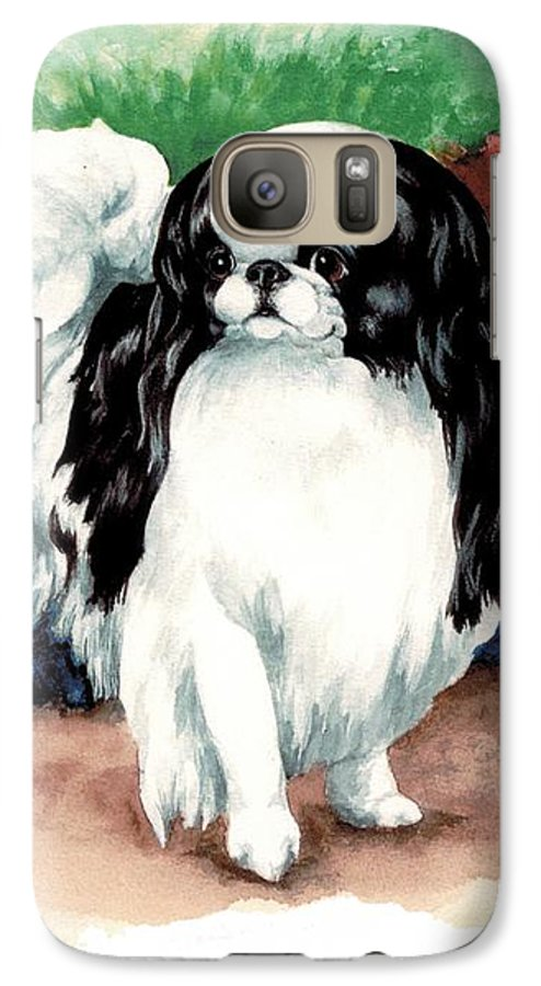 Japanese Chin Galaxy S7 Case featuring the painting Garden Chin by Kathleen Sepulveda