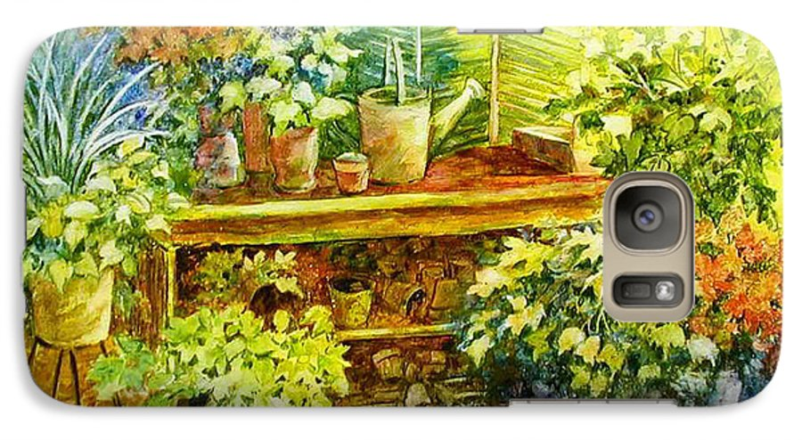 Greenhouse;plants;flowers;gardener;workbench;sprinkling Can;contemporary Galaxy S7 Case featuring the painting Gardener's Joy by Lois Mountz