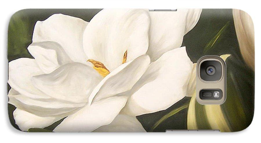 Gardenia Flower Galaxy S7 Case featuring the painting Gardenia by Natalia Tejera