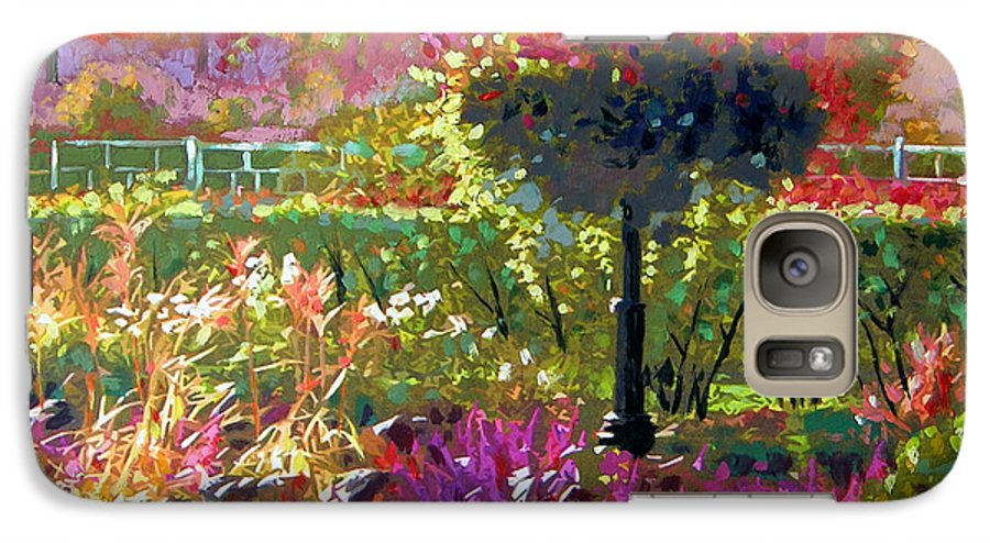Landscape Galaxy S7 Case featuring the painting Gas Light In The Garden by John Lautermilch