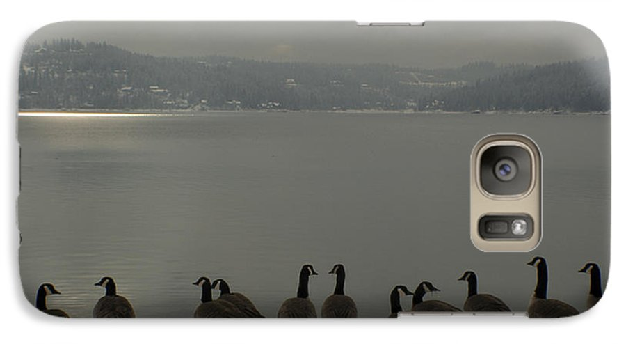 Geese Galaxy S7 Case featuring the photograph Geese On The Edge by Idaho Scenic Images Linda Lantzy
