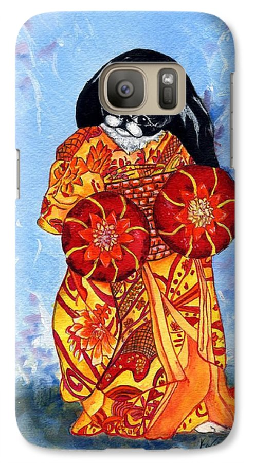 Japanese Chin Galaxy S7 Case featuring the painting Geisha Chin by Kathleen Sepulveda