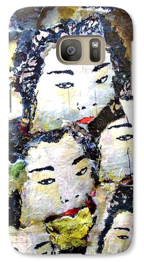 Geisha Girls Galaxy S7 Case featuring the mixed media Geisha Girls by Shelley Jones