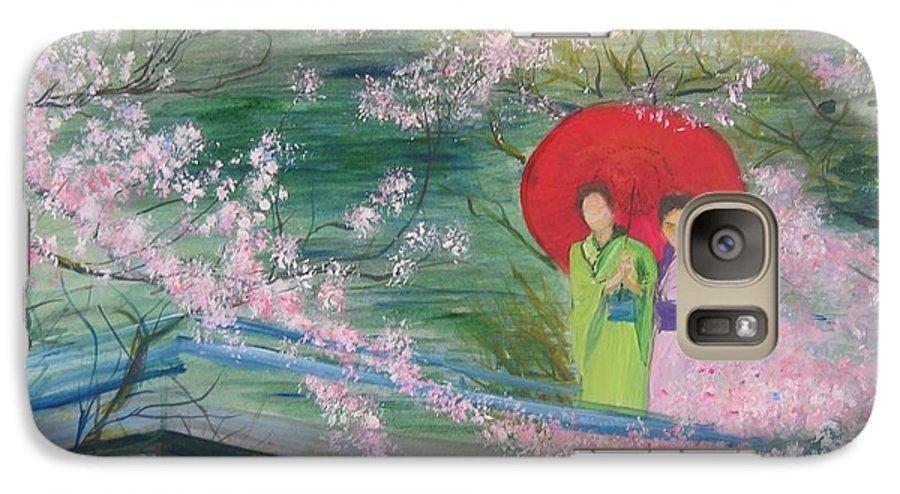 Landscape Galaxy S7 Case featuring the painting Geishas And Cherry Blossom by Lizzy Forrester