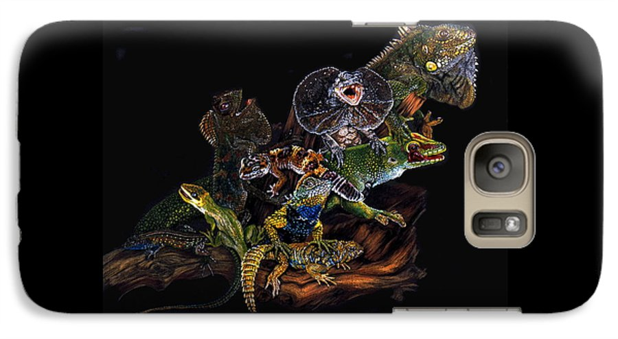 Lizards Galaxy S7 Case featuring the drawing Gems And Jewels by Barbara Keith