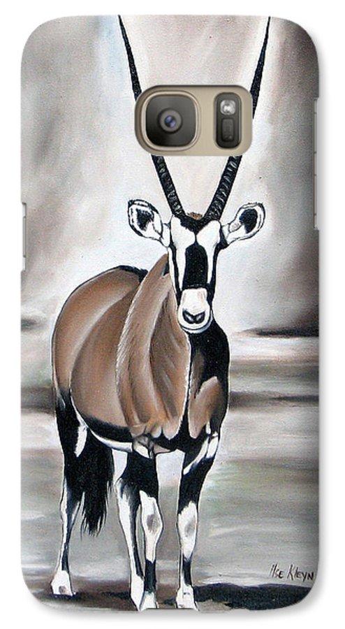 Gemsbok Galaxy S7 Case featuring the painting Gemsbok - Solitude by Ilse Kleyn