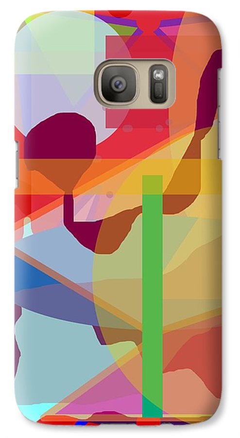 Abstract Galaxy S7 Case featuring the painting Geo Frenzy by Pharris Art