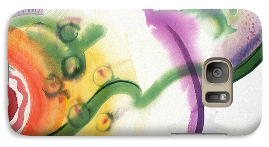Abstract Galaxy S7 Case featuring the painting Geomantic Blossom Ripening by Eileen Hale