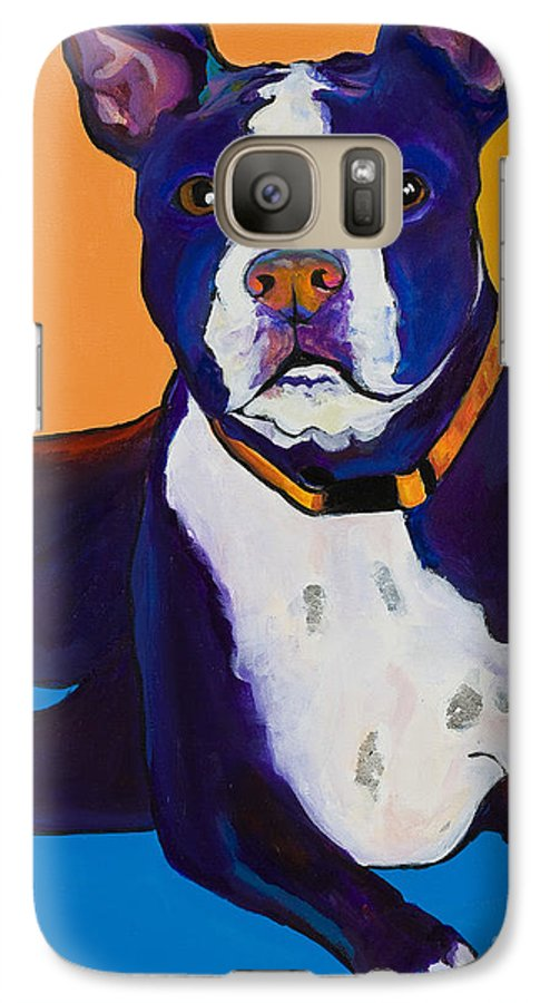 Boston Terrier Galaxy S7 Case featuring the painting Georgie by Pat Saunders-White