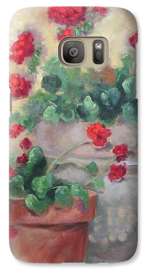 Geraniums Galaxy S7 Case featuring the painting Geraniums by Ginger Concepcion