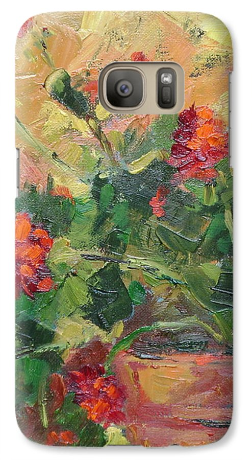 Geraniums Galaxy S7 Case featuring the painting Geraniums II by Ginger Concepcion
