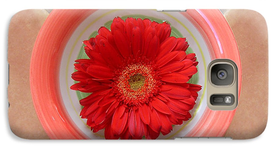 Nature Galaxy S7 Case featuring the photograph Gerbera Daisy - Bowled On Tile by Lucyna A M Green