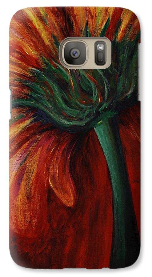 Gerbera Daisy.daisy Galaxy S7 Case featuring the painting Gerbera Daisy by Nadine Rippelmeyer