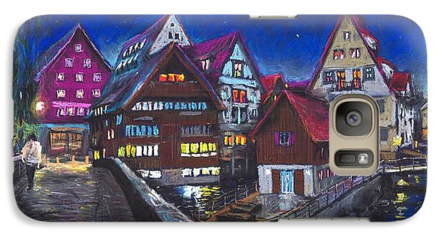 Pastel Galaxy S7 Case featuring the painting Germany Ulm Fischer Viertel by Yuriy Shevchuk