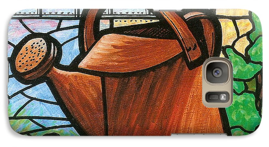 Gardening Galaxy S7 Case featuring the painting Giant Watering Can Staunton Landmark by Jim Harris