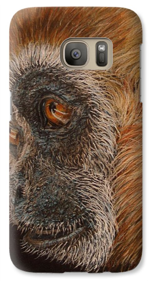 Animals Galaxy S7 Case featuring the drawing Gibbon by Karen Ilari