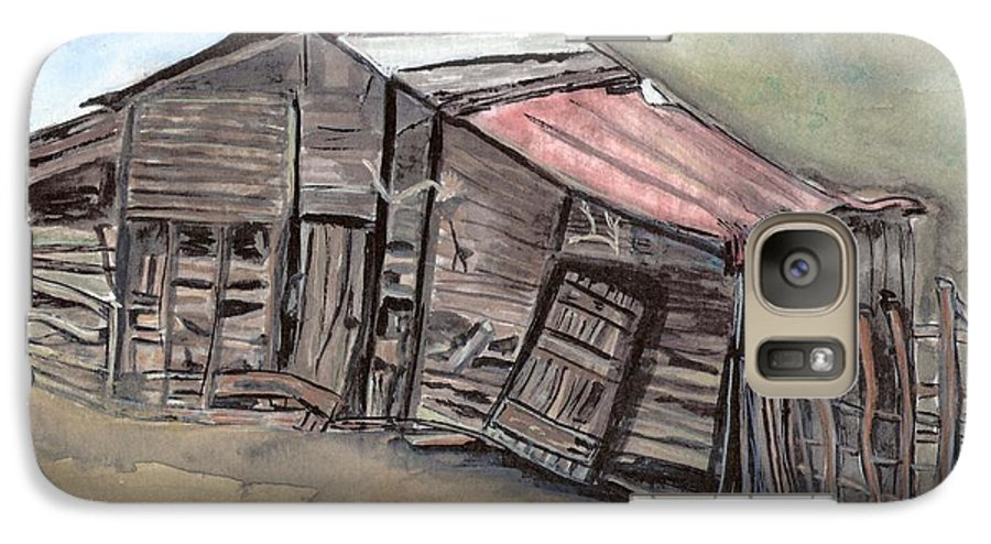 Barn Galaxy S7 Case featuring the painting Gila New Mexico Cattle Barn by Margaret Fortunato